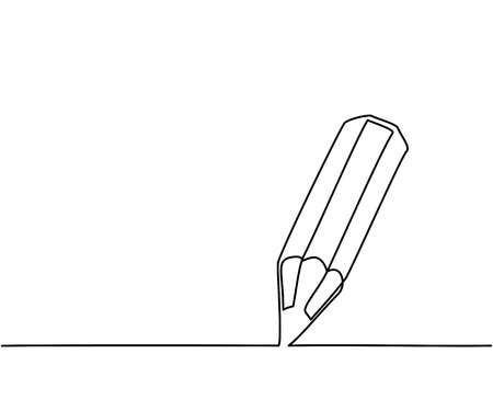 Pencil business icon. Continuous thin line drawing illustration