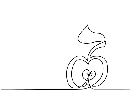 Gestileerde tekening van appel. Continu dunne lijntekening. illustratie