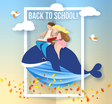 Back to school 1 september card with kids sitting on whale flying on blue sky background. Vector illustration. Paper cut and craft style.