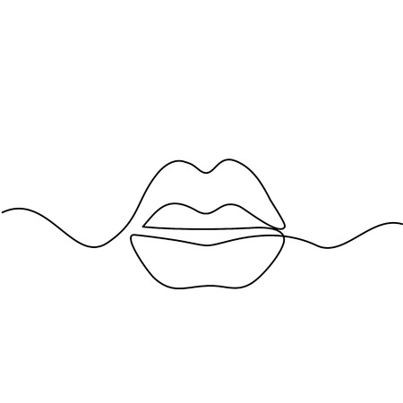 Continuous line drawing. Beautiful Woman lips logo. Black and white isolated outline vector illustration. Concept for logo, card, banner, poster, flyer  イラスト・ベクター素材