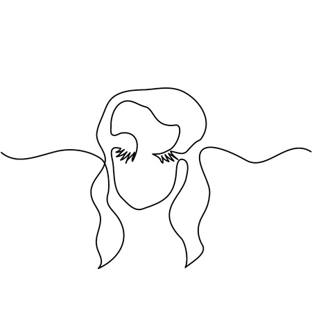 Vector continuous line. Abstract portrait of a woman logo. Vector illustration. Illustration