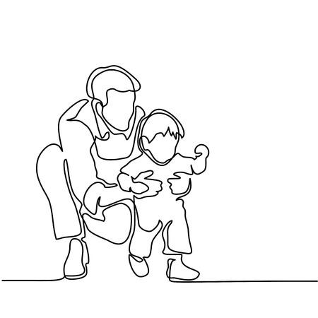 父と息子の赤ちゃんが歩き始めます。連続線の描画。ベクター シルエット