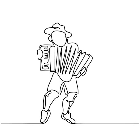 Continuous line drawing. Oktoberfest man with beer. Vector illustration Vettoriali