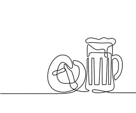 連続線の描画。オクトーバーフェスト ビール ジョッキとプレッツェル。ベクトル図  イラスト・ベクター素材