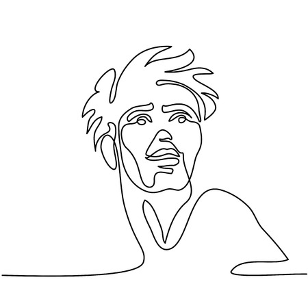 Vector continuous line drawing. Abstract portrait of young happy man