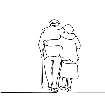 Continuous line drawing. Happy elderly couple hugging and walking. Vector illustration