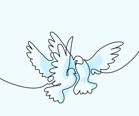 連続1線画。2鳩のロゴをフライング。ソフトカラーブルー背景ベクトルイラスト。ロゴ、カード、バナー、ポスター、チラシのコンセプト