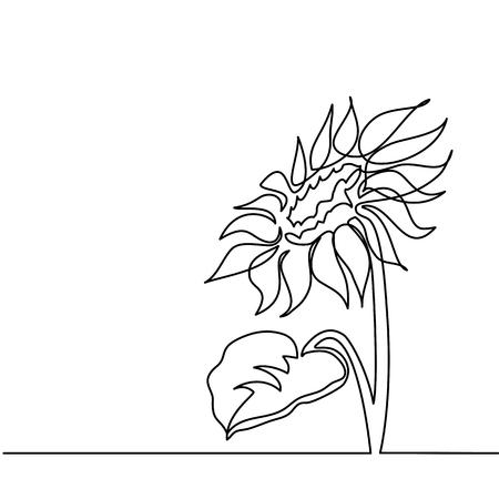 美しいヒマワリ。連続した線画。ベクターイラスト