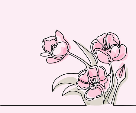 Beautiful soft color pink tulips flowers. Continuous line drawing. Vector illustration Illustration