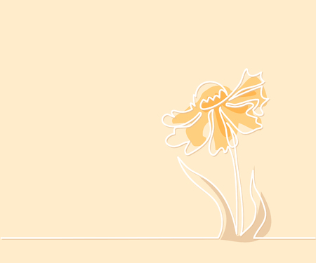 butterfly isolated: Beautiful soft color flowers Echinacea with butterfly. Continuous line drawing. Vector illustration