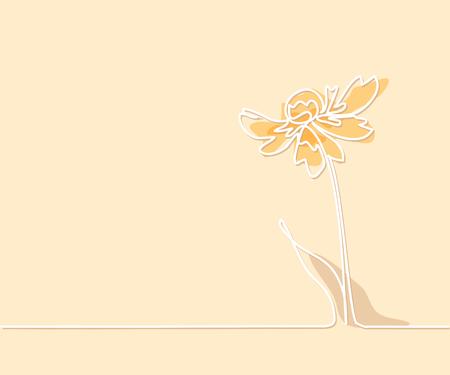 Belle Fleur De Couleur Douce Echinacea Avec Papillon Dessin