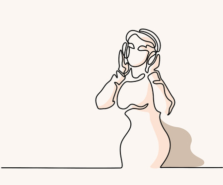 Woman listening to music on headphones. Continuous line drawing with soft colors. Vector illustration