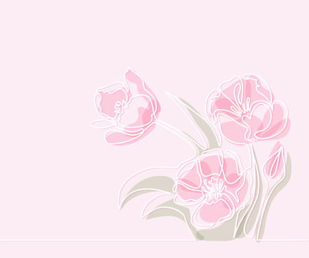 Line Drawing Flower Vector : Beautiful soft color rose flowers. continuous line drawing. vector