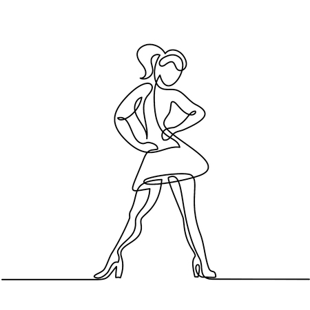 Continuous line drawing of dancing woman. Vector illustration