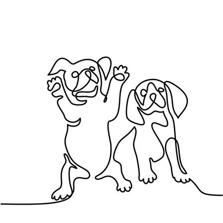 連続線の描画。2 つの子犬犬が座っています。ベクトル図