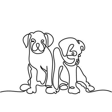 Continuous line drawing. Two puppy dogs sitting. Vector illustration Çizim