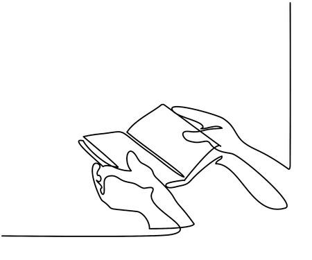 Disegno continuo. Mani che tengono il libro della Bibbia. Illustrazione vettoriale