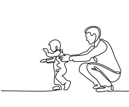 Father and son baby beginning to walk. Continuous line drawing. Vector silhouette Ilustração