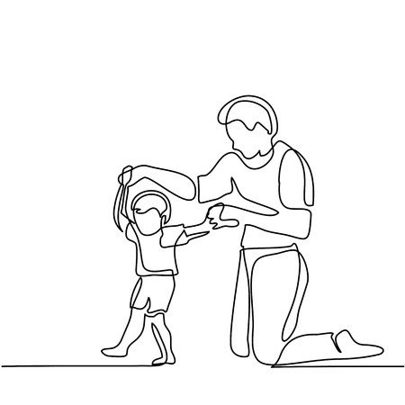 Father and son baby beginning to walk. Continuous line drawing. Vector silhouette Çizim