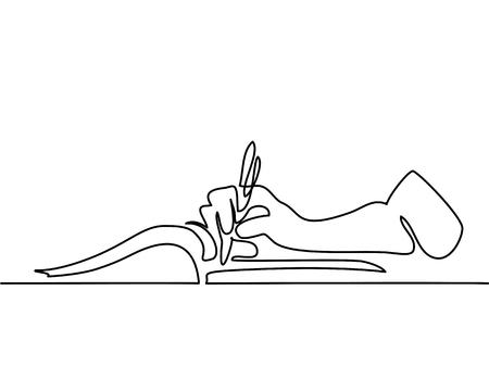 Dessin au trait continu. Main dessiner dans le livre. Illustration vectorielle