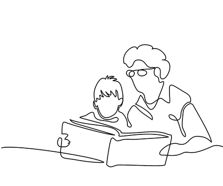 Continuous line drawing. Grandmother sitting with grandson and reading book story. Vector illustration.