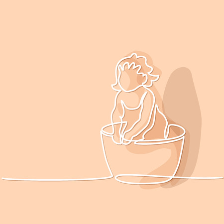 Continuous line drawing. Cute baby is bathing in trough. Vector illustration soft colors. Illustration