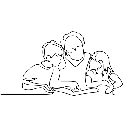 Continuous line drawing. Grandmother reading book with her grandchildren. Vector illustration.