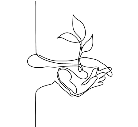 Continuous line drawing. Hands palms together with growth plant. Vector illustration.