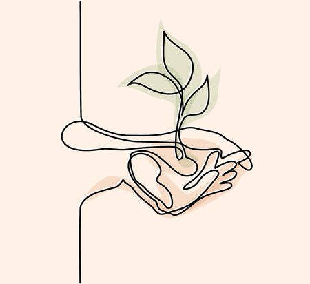 Continuous line drawing. Hands palms together with growth plant. Vector illustration in soft colors. Illustration