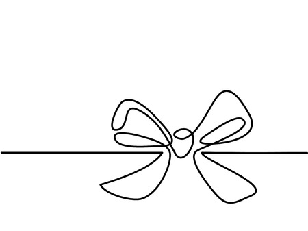 Christmas Holly Decoration Bow Knot Continuous Line Drawing