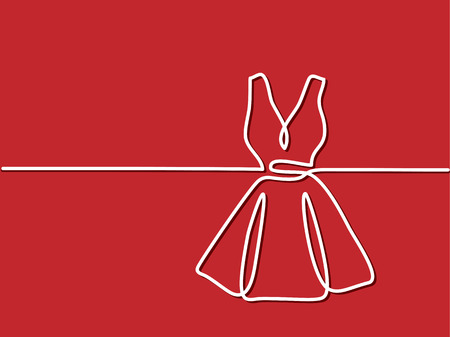 Silhouette holiday woman dress on red background. Continuous line drawing. Vector illustration