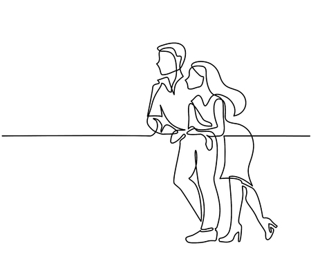 Continuous line drawing. Young couple standing and leaning on balcony railing. Vector illustration Vettoriali