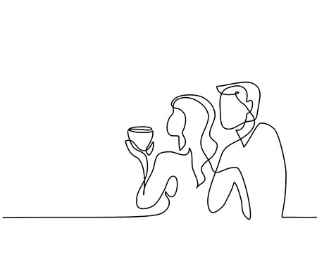 Continuous line drawing. Young couple drinking coffee. Vector illustration
