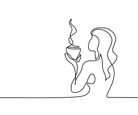 Continuous line drawing. Woman relaxing with cup of tea. Vector illustration.