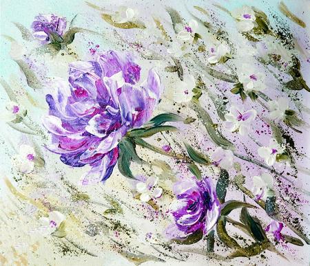 Hand painted modern style purple peonies flowers spring flower hand painted modern style purple peonies flowers spring flower seasonal nature background oil painting mightylinksfo