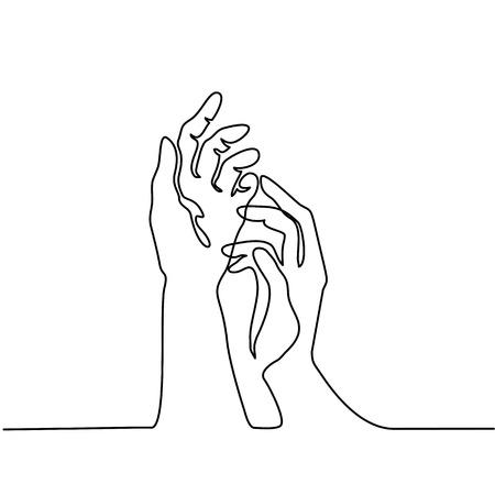 Disegno continuo. Mani palme insieme. Illustrazione vettoriale Archivio Fotografico - 86208057