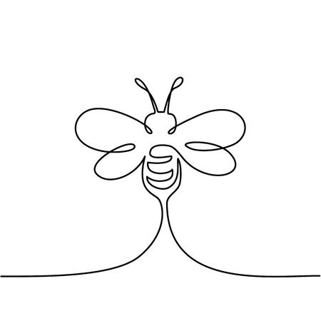 連続1線画。飛ぶ蜂のロゴ。黒と白のベクトルイラスト。ロゴ、カード、バナー、ポスター、チラシのコンセプト