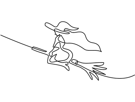 Continuous line drawing of black halloween witch on broom. Vector illustration