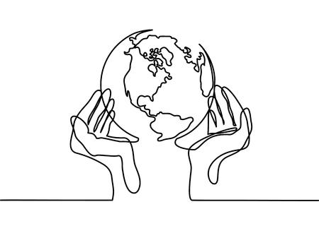 Dibujo de línea continua. Globo de la tierra en manos humanas. Mapa del lado de América. Ilustración vectorial