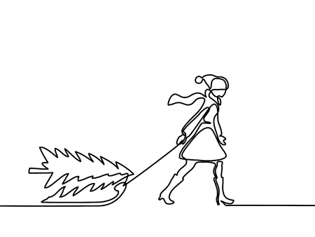Continuous line drawing. Woman walking with christamas tree on sled. Vector illustration.