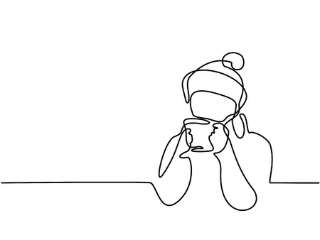 Continuous line drawing. Woman drinking cup of tea winter time. Vector illustration.