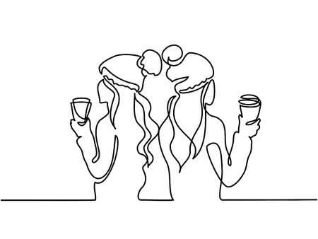Continuous line drawing. Young girls drinking cup of tea at winter time. Vector illustration. Total editable, choose thickness and place of line
