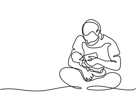 Continu lijntekening. Jonge vader voedende baby van fles. Vector illustratie. Totaal bewerkbaar, kies dikte en plaats van regel Stock Illustratie