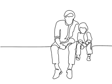 Continuous line drawing. Father and son sitting together. Vector illustration Total editable, choose thickness and place of line Çizim