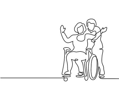 연속 선 그리기. 남자 휠체어에 여자를 밀어. 벡터 일러스트 레이 션 총 편집 가능한, 두께 및 선 장소 선택