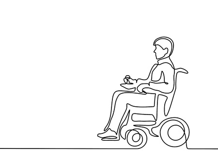 attending: Continuous line drawing. Disabled man on electric wheelchair enjoy with moving. Vector illustration total editable, choose thickness and place of line Stock Photo