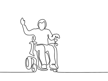 Continuous line drawing. Disabled man on electric wheelchair enjoy with moving. Vector illustration total editable, choose thickness and place of line Stock Photo