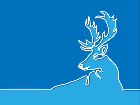 総: Continuous line drawing. Christmas reindeer on blue background. Total editable, choose thickness and place of line