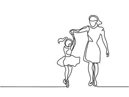 Continuous line drawing. Happy woman mother help to dance to her daughter. Vector illustration total editable, choose thickness and place of line Vettoriali