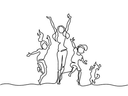Dessin au trait continu. Heureuse mère qui danse avec les enfants et le chien. Illustration vectorielle Total modifiable, choisissez l'épaisseur et l'emplacement de la ligne